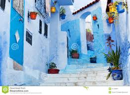 Morocco Blue City by Street In The Blue City Chefchaouen Morocco Stock Photo Image