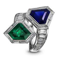 sapphire emerald rings images Sapphire emerald twin ring jacob co timepieces fine png