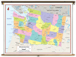 Lake Chelan Washington Map by Washington State Political Classroom Map From Academia Maps