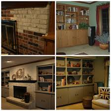 home design by annie brick fireplace mantel and oak built in cabinetry painted by