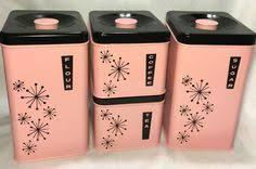 pink kitchen canister set vintage 1950s kitchen canisters pink kitchen canisters set of 3