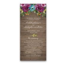 purple wedding programs purple watercolor flowers wood wedding program
