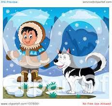 clipart of a happy inuit eskimo boy presenting by a husky dog and