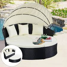 Outdoor Daybed With Canopy Costway Outdoor Patio Sofa Furniture Round Retractable Canopy