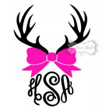 bow monogram vinyl decals