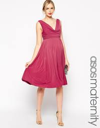 Maternity Drape Dress Asos Wedding Pleated Midi Dress With Drape Cowl Neck In Pink Lyst