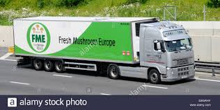 volvo company fresh mushroom europe company trailer and volvo lorry on the m25