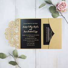 and black wedding invitations gold and black foil pressed customized pocket laser cut