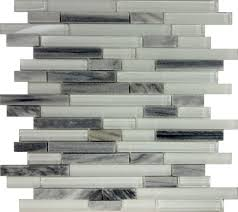 Gray Backsplash Kitchen Sample Gray White Glass Natural Stone Linear Mosaic Tile Kitchen