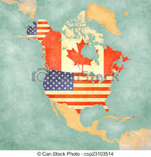 map usa y canada map of america usa and canada vintage series usa