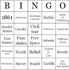 american civil war bingo cards