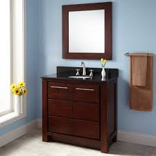 espresso glossy wooden bathroom vanity with 6 drawers and black