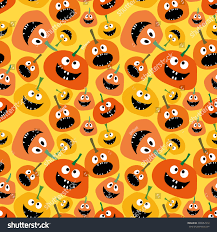 halloween party background pumpkin seamless pattern on yellow background stock vector