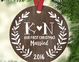 Personalized Wedding Ornament First Christmas Ornament Married