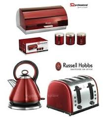 Red Kettle And Toaster Russell Hobbs Red Legacy Kettle And Toaster Set U0026 Sq Bread Bin And
