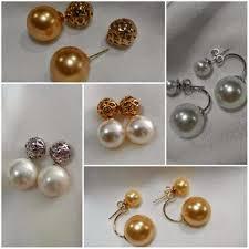 anting emas 24 karat perhiasan dengan mutiara dari lombok
