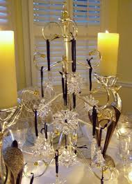 winter table setting with swarovski ornament centerpiece