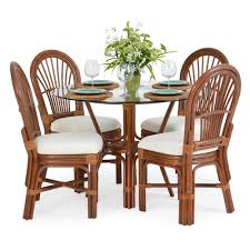 Rattan Kitchen Furniture Islamorada Rattan 5 Dining Set Side Chairs Pecan Glaze