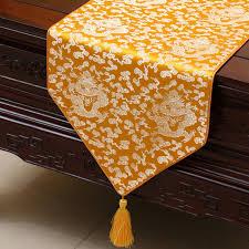 luxury damask table runner ethnic jacquard dragon damask fabric table runner protective mats