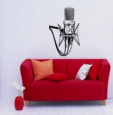 studio microphone musical decor recording music studio wall vinyl studio microphone musical decor recording music studio wall vinyl decal art sticker home modern stylish interior decor for any room smooth and flat surfaces