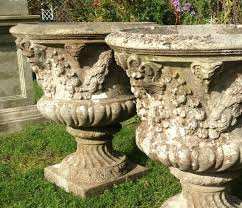 pair of antique garden urns in from the vintage garden company