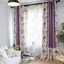 Purple Room Darkening Curtains Purple Waverly Printed Linen Cotton Blend Room Darkening Curtains