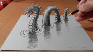 draw monster drawing 3d loch ness monster trick art