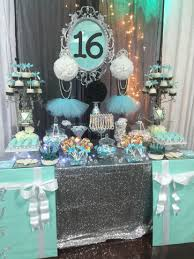 turquoise white and black with silver accents candy buffet with