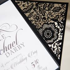 wedding invitations black and white simple black and white laser cut wedding invitations ewws102 as