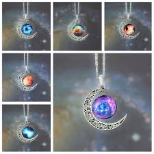 ebay necklace silver images New galactic univers glass cabochon pendant silver tone crescent jpg