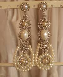 and pearl chandelier bridal chandelier earrings silver filigree and swarovski