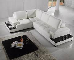 Modern Bonded Leather Sectional Sofa Divani Casa T35 Mini Modern Leather Sectional Sofa With Light