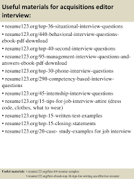 top 8 acquisitions editor resume samples