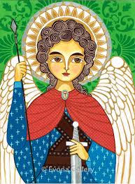 folk art painting icon of saint michael the archangel print on
