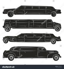 vip cars set four black limousines silhouette collection stock vector
