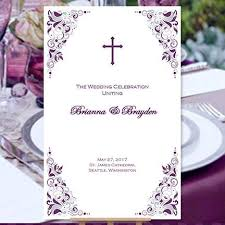 Purple And Silver Wedding Invitations Catholic Church Wedding Program Gianna Eggplant Purple And Silver