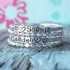 stackable mothers rings with names stackable mothers ring etsy