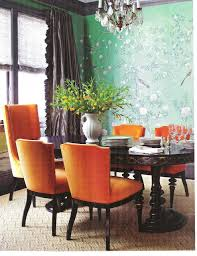 prove that the orange dining room interior will evoke your