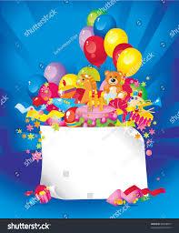 childrens birthday toys birthday cake balloons stock vector