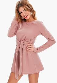 pink dresses pink tie waist sweat dress missguided