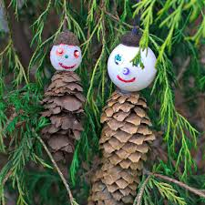 Outdoor Tree Ornaments by Pine Cone Men Ornaments Handmade Holidays Upstate Ramblings