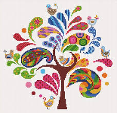 arbre ludique funky tree cross stitch kit by princesse