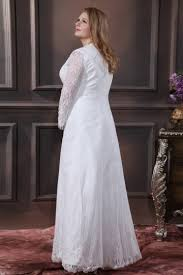 robe de mari e simple dentelle robe de mariée grande taille simple encolure en v manche longue en