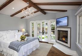 sherwin williams pussywillow with faux rafters bedroom traditional