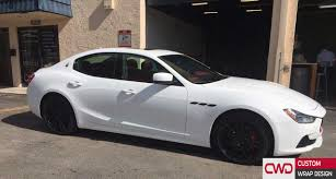 white maserati sedan miami car wrap portfolio