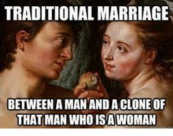 Traditional Marriage Meme - traditional marriage between aman and a clone of that man who