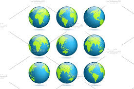 asia globe map earth globe world map set planet with continents africa asia