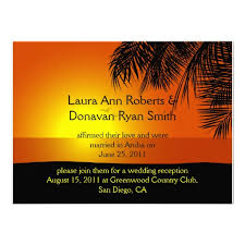 reviewtropical sunset palm trees post wedding invitationtoday