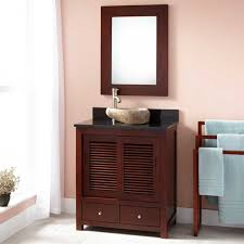 bathroom brown polished wooden narrow depth bathroom vanity with