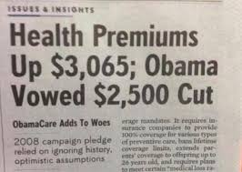 Obama Has Vowed To Cut Obamacare Premiums Up 3065 Dollars Obama Vowed 2500 Cut
